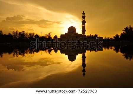 Masjid Tengku Tengah Zaharah or also known as Floating Mosque in Kuala Terengganu, Malaysia with reflection