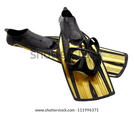 Mask and flippers with water drops. Diving gear isolated on white background.
