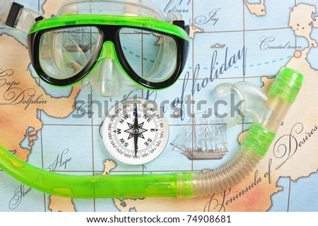 mask and snorkel diving on the map
