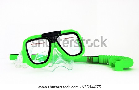 Mask and snorkel isolated on white background - stock photo