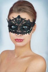 Mask.Nude.Girl.Venice carnival mask Close-up female portrait.Blue eyes. Gray background
