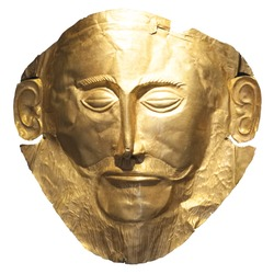 Mask of Agamemnon - gold funeral mask from ancient Greek site of Mycenae on white backgrouns