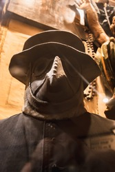 Mask with a beak. Plague doctor - protective clothing of the Middle Ages. Shallow depth of field