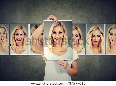 Masked blonde woman expressing different emotions #737577010