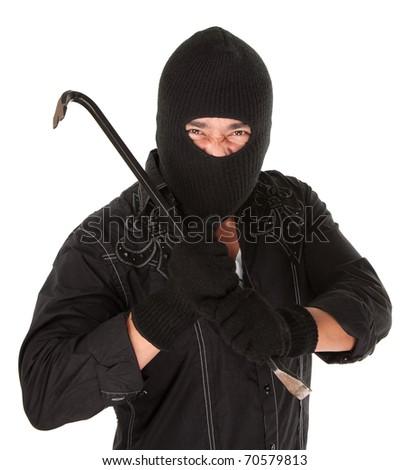 Masked criminal holding a crowbar on white background