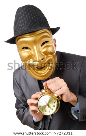 Masked man with clock on white
