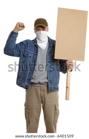 Masked protester with clenched fist, holding a blank placard for you to add your own text.