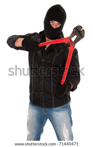 Masked robber holding huge red and black wire cutters