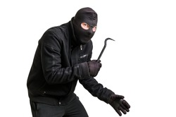 Masked thief in balaclava with crowbar isolated on white background