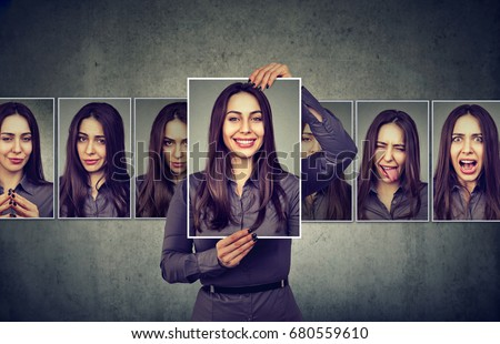 Masked woman expressing different emotions  #680559610
