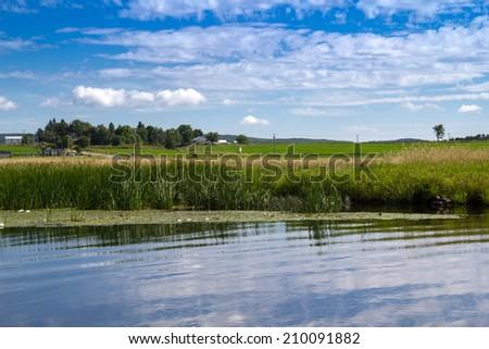 Maskinong River, Qc, Canada landscape in summer