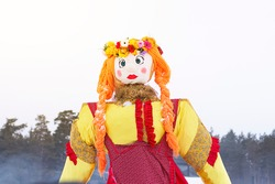 Maslenitsa, Big doll - symbol of Pancakes week, scarecrow for burning as symbol of winter end and spring coming