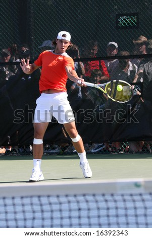 Mason, Ohio -  July 31: Professional Tennis Player Rafael Nadal on the practice court for the 2008 Western & Southern Financial Group Masters July 31st 2008 in Mason, Ohio