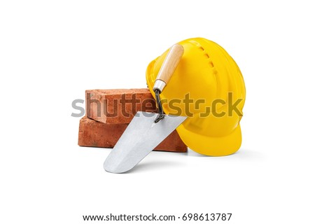 Mason tools -Trowel, bricks and helmet on white background, Clipping Path
