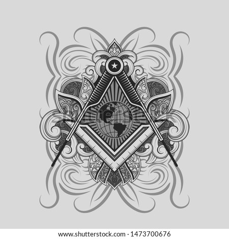 MASONIC EMBLEM DESIGN WITH ORNAMENT-02