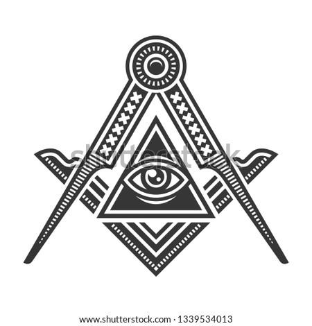 Masonic Freemasonry Emblem Icon Logo on White Background.