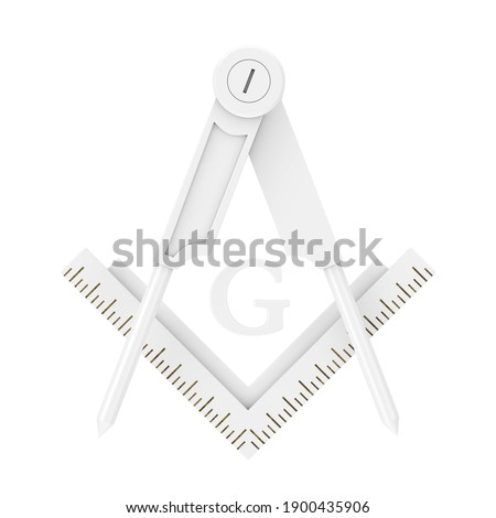 Masonic Freemasonry Square and Compass with G Letter Emblem Icon Logo Symbol in Clay Style on a white background. 3d Rendering Stock photo ©