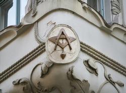Masonic symbol detail on nineteenth century gravestone