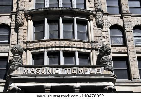 Masonic Temple in a historic building in Minneapolis, Minnesota - stock photo