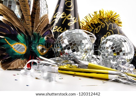 Masquerade Mask and party hats for New Years Eve