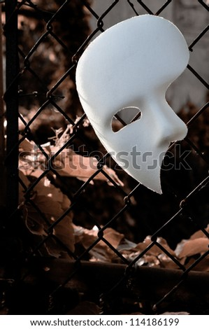 Masquerade - Phantom of the Opera Mask on Rusty Chainlink Fence