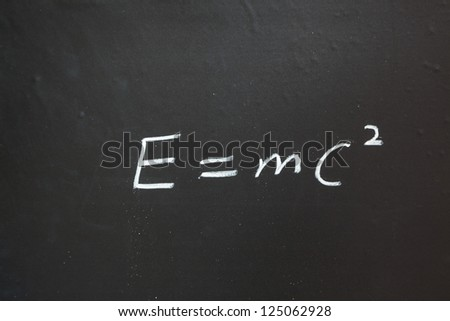 mass energy equation writen in blackboard