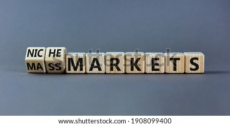Mass or niche markets symbol. Turned wooden cubes and changed words 'mass markets' to 'niche markets'. Beautiful grey background, copy space. Business and mass or niche markets concept.