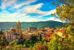 Massa Marittima old town and San Cerbone Duomo cathedral. Tuscany, Italy.