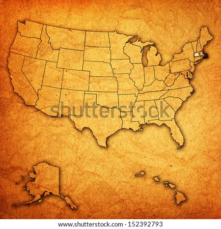 Massachusetts on old vintage map of usa with state borders