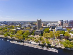 Massachussets Institute of Technology (MIT) Green Building and campus aerial view, Cambridge, Massachusetts MA, USA.
