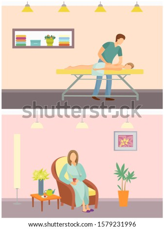 Massage and relaxing procedures in spa salon and resort. Woman sitting on chair drinking hot tea beverage. People relaxed and resting, man set raster