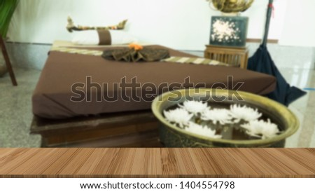 massage bed in spa health wellness club with wood table for montage display product #1404554798