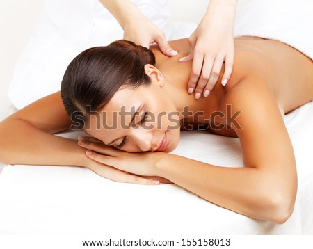 Massage Close-up of a Beautiful Woman Getting Spa Treatment