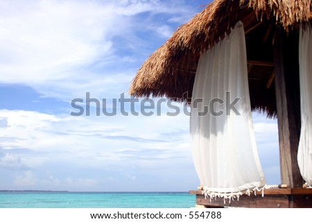 Massage hut on Cancun beach Mexico