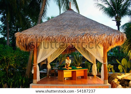 Massage in tropical spa. A young woman having a back massage outside in tropical setting