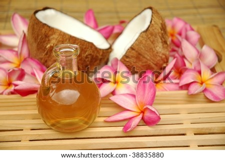 Massage oil in the spa - stock photo