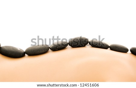 Massage with hot stones - stock photo