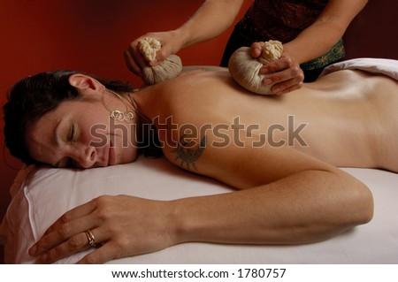Massage with Thai Compresses Upper Back