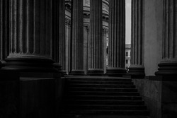 Massive columns of the state of building.Saint Petersburg, Russia. Kazan Cathedral