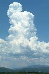 Massive cumulus cloud builds vertically before releasing its storm