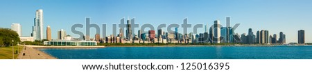 Massive extended panorama of the Chicago skyline early morning