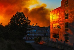 Massive Forest Fire in Manavgat Antalya Turkey, fire fumes in the city, fire smoke at sunset.