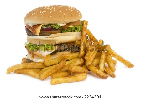 Massive Hamburger, isolated on white - cheese, tomato, lettuce, 3 burgers, loads of bread.