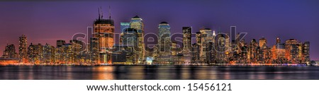 Massive HDR panoramic image showing the Jersey-side of Lower Manhattan at dusk.