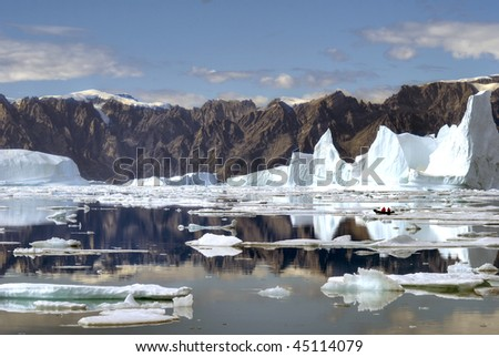 Massive icebergs in North-East Greenland
