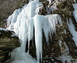 Massive icicles hang from the cliffs near Awosting Falls in Minnewaska State Park near the Catskills in Upstate New York.