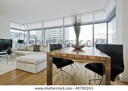 massive luxury living room with floor to ceiling windows and city views #48780265