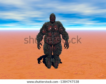 massive monster in the desert 3D rendering