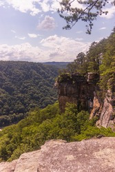 Massive Rock Walls on the Endless Wall Trail Overlooking New River in New River Gorge National Park, West Virginia