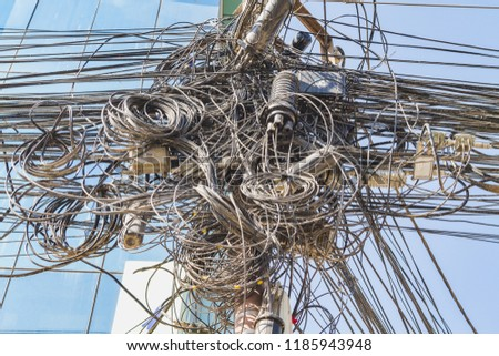 Massive Tangle of cables and wires in the city of kathmandu Nepal. #1185943948